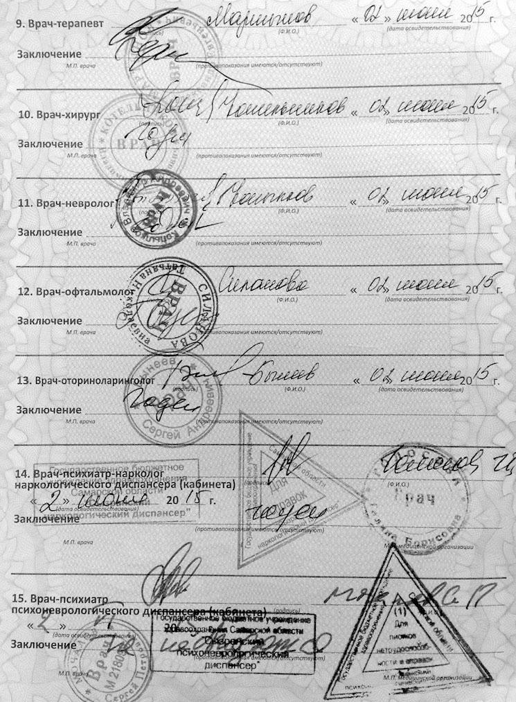 Водительская медицинская справка по оренбуржью анализ крови алкоголь москва