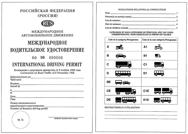 Международное водительское удостоверение нового образца